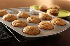Banana Bread Muffins Recipe - Kraft Recipes - 4PP using olive oil mayo, SF pudding, almond milk, 2 bananas