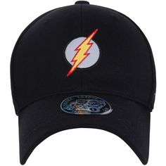 ililily Embroidered The Flash Logo Curved Fitted Hat Baseball Cap ($20) ❤ liked on Polyvore featuring accessories, hats, embroidery hats, logo baseball hats, logo ball caps, fitted baseball caps and logo baseball caps