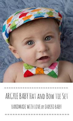 Baby hat and bow tie set. This colorful argyle set is perfect for baby shower gift for new mom, coming home outfit, newborn photo session baby photo prop, first Birthday cake smash outfit and any special occasions. Please click to check out more!