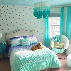 Bedroom Design And Decoration Tips And Ideas - Top Style Decor Teal Rooms, Bedroom Turquoise, Teal Bedroom Decor, Purple Teal Bedroom, Tiffany Blue Bedroom, Girls Bedroom Furniture, Furniture Dolly, Girl Bedroom Designs, Bedroom Themes