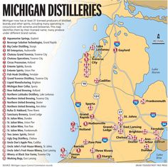 Map of State of Michigan with its cities towns and counties Been