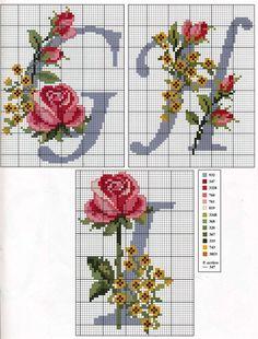 CURIOSA CORUJA: Gráfico Ponto Cruz - Monograma com Flores