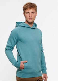 Toasty Boy hoodie in Heather Eucalyptus is fair trade and made from 85% organic cotton.
