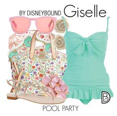 Giselle by leslieakay on Polyvore featuring René Caovilla, Dooney & Bourke, Bling Jewelry, Wildfox, disney, swimwear, disneybound, poolparty and disneycharacter
