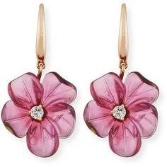 Rina Limor 19mm Pink Tourmaline Flower Earrings with Diamonds