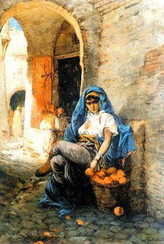 Algérie - Peintre Français Alfred CHATAUD (1833-1908), Huile sur toile ,Titre: Vendeuse d'oranges dans la Casbah d' Alger