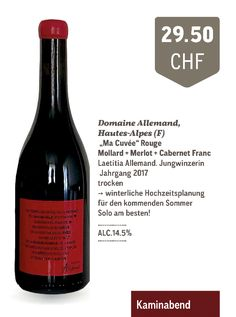 Domaine Allemand | Ma Cuvée Rouge IGP Hautes - Alpes Red Wine, Alcoholic Drinks, Bottle, Glass, Red, German Language, Recipes, Summer Evening, Cherries
