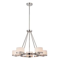 Celine Polished Nickel Five-Light Chandelier with Etched Opal Glass