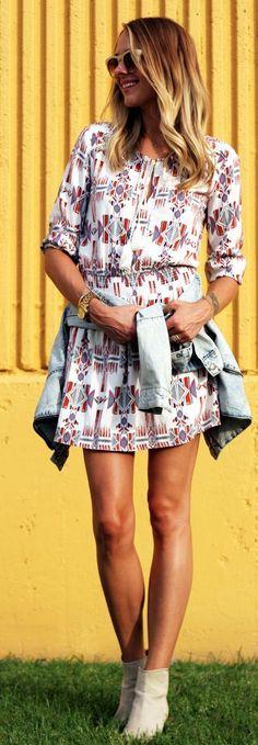 Aztec Print Dress Streetstyle