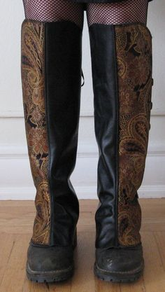 steampunk spats.  I like the contrast between the leather and the brocade.