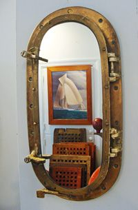 Brass Yacht Porthole Re-purposed Nautical Mirror at SkipjackNauticalWares.com