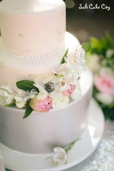 Salt Cake City (www.SaltCakeCity.com) silver double barreled blush wedding cake with silver leaf Blush Wedding Cakes, Double Barrel, Happily Ever After, Cake Ideas, Salt, City, Desserts, Silver, Tailgate Desserts