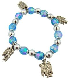 Womens Girls Catholic Jewelry Gift 10MM Light Blue Bead with Holy Angels Michael Uriel Gabriel Raphael Silver Tone Charm 7 12 Inch Stretch Bracelet with Story Card * For more information, visit image link.