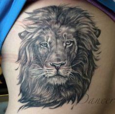 Greyscale realist proud lion tattoo done by Autumn Dancer at Capital Tattoo! Beautiful lion tattoo, animal art. Follow on Instagram @missautumndancer