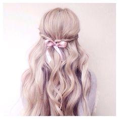 Bow hairstyle half up twist, long hair ☁️☁️