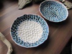 """Ceramic dishes / Тарелки ручной работы. Ярмарка Мастеров - ручная работа. Купить Тарелочки """"Байкальская вода"""". Handmade. Синий, вода, глина"""