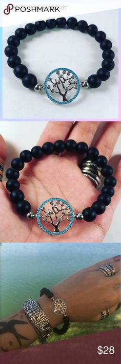 Women onyx cz tree of life charm beaded bracelet FREE GIFT WITH EVERY PURCHASE !! LET ME KNOW IF YOU WANT MEN OR WOMEN GIFT WHEN PURCHASING Women beaded bracelet. Fits most , 5.5 to 7.5 inch wrist. Handmade by me , never worn by anyone. Made with genuine matte onyx beads. White gold plated tree of life charm with cubic zirconia . I ship fast!!✈️ Bundle and save! ( 10 % off bundles) Any questions let me know! No transactions outside Poshmark!! Jewelry Bracelets