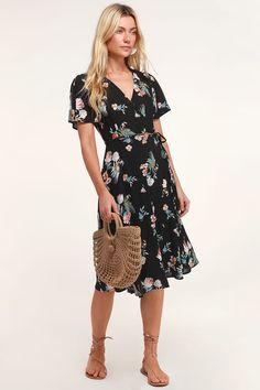 8b12e24c2146 Lovely Black Tropical Print Dress - Wrap Dress - Wrap Midi Dress
