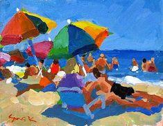 Cape Light: Color Me Bright by Charles Sovek Abstract Landscape, Landscape Paintings, Parasols, Beach Artwork, Guache, Gouache Painting, Figure Painting, Watercolor Print, Beautiful Paintings