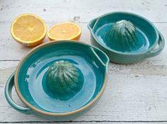 Citrus Juicer Lemon Juicer Handmade Pottery Blue by jclayPottery