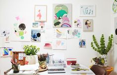 Artist, illustrator and designer Kat Macleod busy at work in her home studio. Photo – Annette O'Brien for The Design Files.