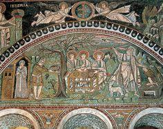 Tímpano izquierdo del presbiterio de la Iglesia de San Vital. Visita de los tres ángeles a Abraham y este preparándose para sacrificar a Isaac. Jeremías y Moisés reciben las Tbalas de la Ley.