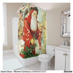 Santa Claus - Shower Curtain - shower curtains home decor custom idea personalize bathroom Custom Shower Curtains, Christmas Holiday, Holiday Gifts, Xmas, Retro Ideas, Vintage Gifts, Personal Style, Santa, Shower Gifts