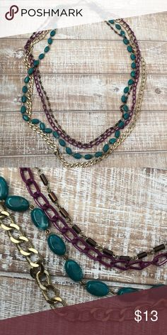 LONG Layered Multi Colored Necklace Gently Used Jewelry Necklaces
