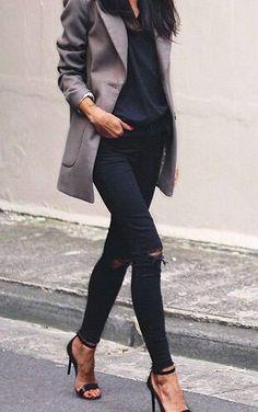 #fall #fashion / gray coat + all black