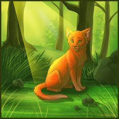 This is Firestar. He was the leader of ThunderClan. All of the lives that he lost went for his clan. Only one life was taken by a sickness.  He now hunts with his warrior ancestors...