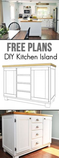 Diy kitchen island ideas the modern chic kitchen island diy kitchen island plans ana white . Diy Kitchen Island, Kitchen Redo, New Kitchen, Kitchen Dining, How To Build Kitchen Island, Space Kitchen, Stylish Kitchen, Summer Kitchen, Kitchen Tables