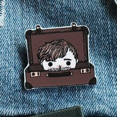 Newt Scamander Suitcase - Fantastic Beasts and Where To Find Them Hand-drawn Pin - Handmade Pin/Brooch - Wearable Art - Made to Order