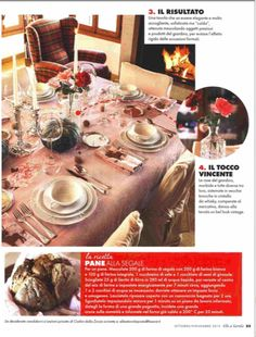 ELLE a TAVOLA - october 2015 - a beautiful table dressed for fall with #marinacmilano hand painted tablecloth #oneofakind shop.marinac.it
