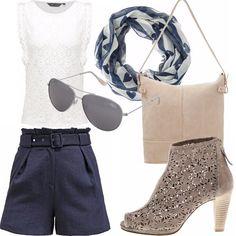 Fresco come la primavera , questo outfit nei toni del bianco e blu, pantaloncini in navy blu, camicetta in pizzo bianco, sciarpina in cotone, borsa secchiello beige , stivaletti spuntati e traforati, occhiali aviator.