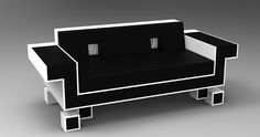 """I have no idea if Igor Chak's """"Retro Alien"""" (ahem, Space Invaders) couch is comfortable, or if it looks as good in real life as it does in renders, but it sure does look good in them renders! Retro Alien Couch by Igor Chak (Thanks, Eric! Space Invaders, Furniture For You, Cool Furniture, Gaming Furniture, Business Furniture, Retro Couch, Nerd Room, Donkey Kong, Retro Design"""