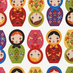 Matryoshka Doll Fabric for daughter's room. yay!