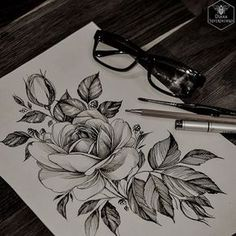 Isn't this flower sketch super cool? 🙂 …another grea… Botanical tattoo lovers! Isn't this flower sketch super cool? 🙂 …another great Pin to my floral drawings! Trendy Tattoos, Love Tattoos, Beautiful Tattoos, New Tattoos, Tatoos, Black Tattoo Art, Black Tattoos, Tattoo Sketches, Tattoo Drawings