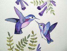 Purple Humming Birds / Bird Art / Floral / Art Print from Original Watercolor Painting / Love Birds / Nursery Decor