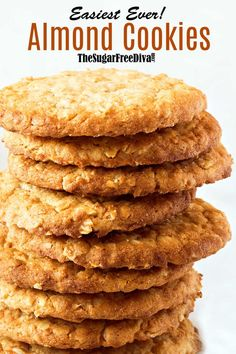 I was amazed at how good these taste and how easy this recipe was to make! Easiest Ever Almond Cookie I was amazed at how good these taste and how easy this recipe was to make! Easiest Ever Almond Cookie Sugar Free Cookies, Sugar Free Desserts, Keto Cookies, Sugar Free Recipes, Healthy Cookies, Low Carb Desserts, Vegan Desserts, Low Carb Recipes, Dessert Recipes
