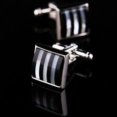 Black And White Mother Of Pearl Striped Cufflinks