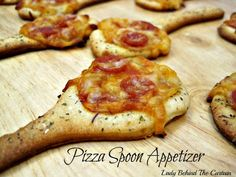 Pizza Spoon Appetizer...spoons are made from ready made pizza dough...Easy!