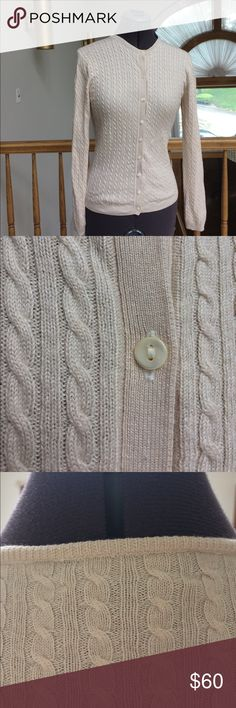 Brooks Brothers cream cardigan Cream Cable knit 10% silk & 30% cashmere button down cardigan. Mother of pearl buttons. Excellent condition. Brooks Brothers Sweaters Cardigans
