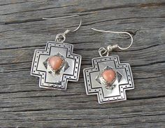 Navajo Rose Coral Heart Cross Dangle Earrings, Vintage Earrings, Cross Dangle Earrings, Navajo Rose Coral Heart Earrings, Traditional Ring