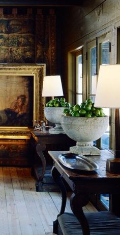 twin wood console tables with urns & green apples - Bobby McAlpine, et.al, designs - check out all the pics - LOVE!