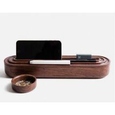Black Walnut Wooden Pen Pencil Case Phone iPad Holder Stationery Box Storage
