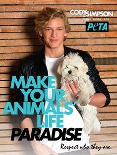 Cody Simpson: Make Your Animals' Life Paradise #celebs #peta #cute #dog