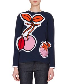 Long-Sleeve+Fruit-Print+Pullover,+Navy/Multi+by+Victoria+by+Victoria+Beckham+at+Neiman+Marcus.