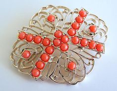 SARAH COVENTRY Tangerine Bead Brooch by SunshineSurprises on Etsy