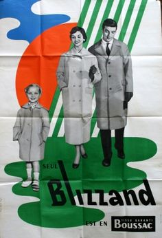 Blizzand Boussac Raincoats, 1950s - original vintage poster listed on AntikBar.co.uk