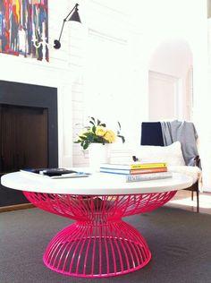 powder coated coffee table in hot pink furniture Furniture Inspiration, Interior Design Inspiration, Home Interior Design, Table Rose, Pink Table, Pink Furniture, Plywood Furniture, Antique Furniture, Modern Furniture